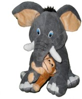 Gifts & Arts Cute Elephant With His Monkey Friend  - 27 cm(Grey)