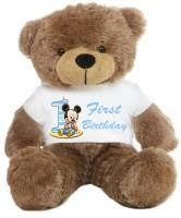 Grab A Deal Big Teddy Bear wearing a First Birthday T-shirt  - 24 inch(Brown)