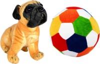 Alexus Pug Dog And Football  - 32 cm(Multicolor)