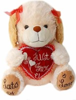 Grab A Deal Pup Holding A Just For You Heart  - 15 Inch(White, Cream)