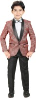 Kute Kids Coat Suit Set Self Design Boys Suit