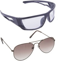 Blackburn BB20BrnBrnGradient-BB872BlkClear Aviator Spectacle  Oval Wrap-around Sunglasses(For Boys)