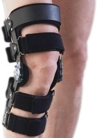 Dr.Med 2-Point Type Hinged Brace Right Knee, Calf & Thigh Support (L, Black)