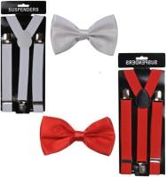 Mr. Willian Y- Back Suspenders for Men, Women(Red, White)