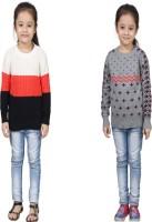 Crazeis Printed Round Neck Casual Girls Orange, Grey Sweater