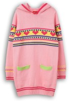Lilliput Self Design Turtle Neck Girls Pink Sweater