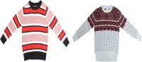 Crazeis Printed Round Neck Casual Boys Red, Pink Sweater