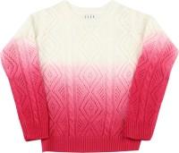 Elle Kids Self Design Round Neck Casual Girls White, Pink SWEATER
