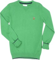 US Polo Kids Solid Round Neck Casual Boys Green Sweater