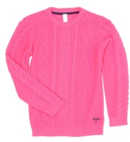 US Polo Kids Self Design Round Neck Casual Girls Pink Sweater