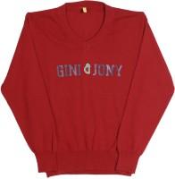 Gini & Jony Printed V-neck Casual Boys Red sweater