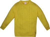 FS Mini Klub Self Design Casual Girls Yellow sweater