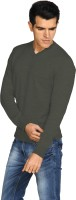 Provogue Solid V-neck Casual Men Grey Sweater