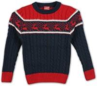 Lilliput Self Design Round Neck Casual Boys Blue Sweater