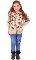 Yellow Apple Printed Round Neck Casual Girls Brown Sweater
