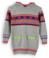 Lilliput Self Design Turtle Neck Casual Girls Grey Sweater