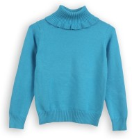 Lilliput Solid Turtle Neck Casual Girls Blue Sweater