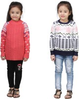 Crazeis Printed Round Neck Casual Girls Pink, White Sweater