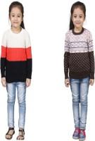 Crazeis Printed Round Neck Casual Girls Orange, Pink Sweater