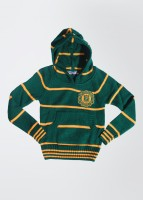 People Striped Round Neck Casual Boys Green Sweater