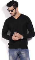 Allen Solly Solid V-neck Casual Men Black Sweater