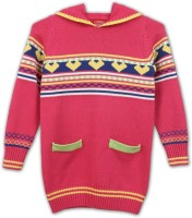 Lilliput Self Design Turtle Neck Casual Girls Pink Sweater