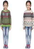 Crazeis Printed Round Neck Casual Girls Multicolor Sweater