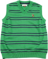 US Polo Kids Striped V-neck Casual Boys Green Sweater