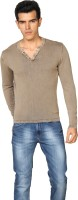 Provogue Solid V-neck Casual Men Brown Sweater