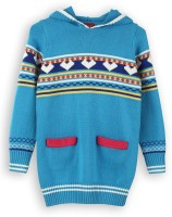 Lilliput Self Design Turtle Neck Casual Girls Blue Sweater