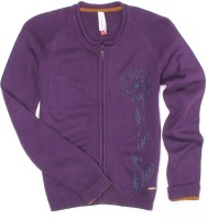 US Polo Kids Solid Round Neck Casual Girls Purple Sweater