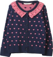 Beebay Self Design Round Neck Casual Girls Dark Blue Sweater