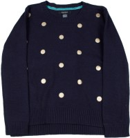 Nautica Printed Round Neck Casual Girls Dark Blue Sweater