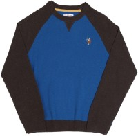 US Polo Kids Solid Round Neck Casual Boys Blue, Brown Sweater