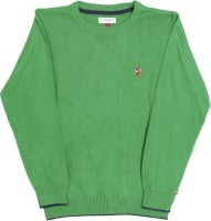 U S Polo Kids Solid Round Neck Casual Boys Green Sweater