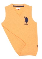 US Polo Kids Solid V-neck Casual Boys Orange Sweater
