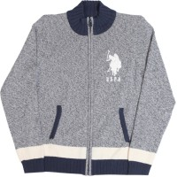 US Polo Kids Solid Casual Boys Grey, Blue Sweater