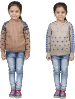 Crazeis Printed Round Neck Casual Girls Beige, Beige Sweater