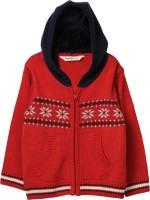 Beebay Self Design Round Neck Casual Boys Red Sweater