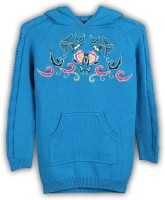 Lilliput Embroidered Turtle Neck Casual Girls Blue Sweater