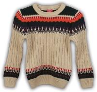 Lilliput Self Design Round Neck Casual Boys Beige Sweater