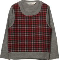 Beebay Checkered Round Neck Casual Boys Grey Sweater