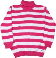 FS Mini Klub Striped Round Neck Girls Pink Sweater