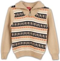 Lilliput Self Design V-neck Casual Boys Beige Sweater