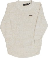 Gini & Jony Self Design Round Neck Casual Boys White sweater