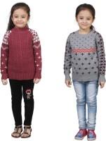 Crazeis Printed Round Neck Casual Girls Maroon, Grey Sweater