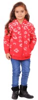 Yellow Apple Printed Round Neck Casual Girls Red Sweater