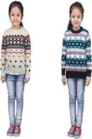 Crazeis Printed Round Neck Casual Girls Grey, Blue Sweater