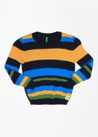 United Colors of Benetton. Striped Round Neck Casual Girls Blue, Yellow Sweater