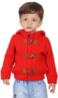 Yellow Apple Solid Round Neck Casual Boys Red Sweater